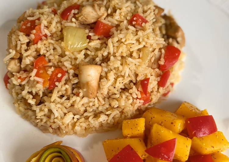Chicken & Red Pepper fried rice with mustard mango salad #mysterybag1
