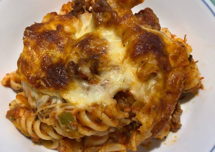 Easiest Way to Cook Appetizing Baked Rotini with Italian Hot Sausage