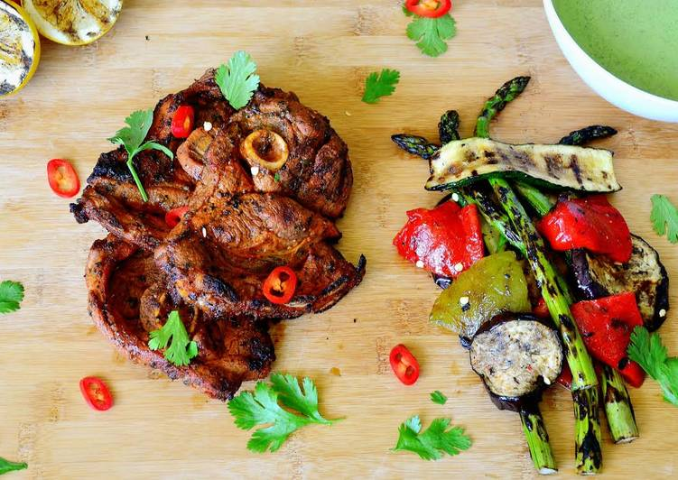 Guest Post ~ Spicy BBQ Lamb Chops with Grilled Veggies & Mint Yogurt Chutney