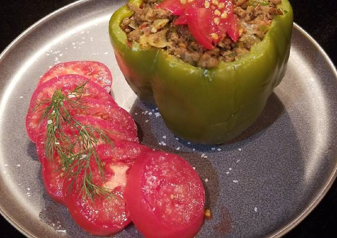 Greek Inspired Stuffed Green Peppers