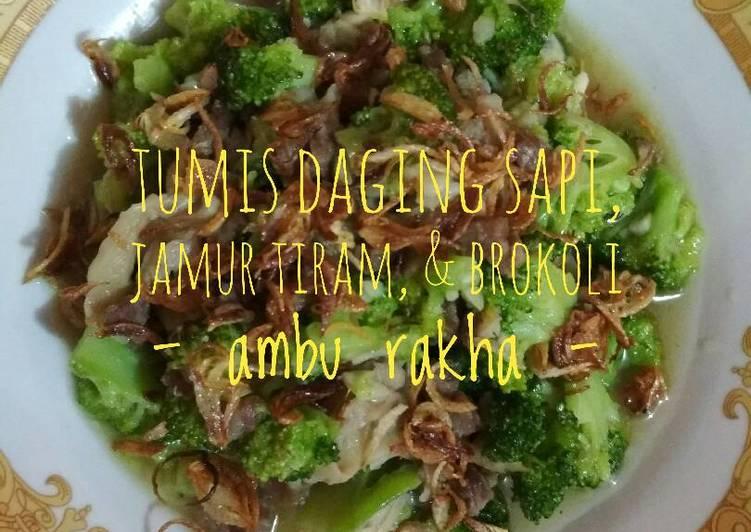 Tumis Daging Sapi, Jamur Tiram, & Brokoli