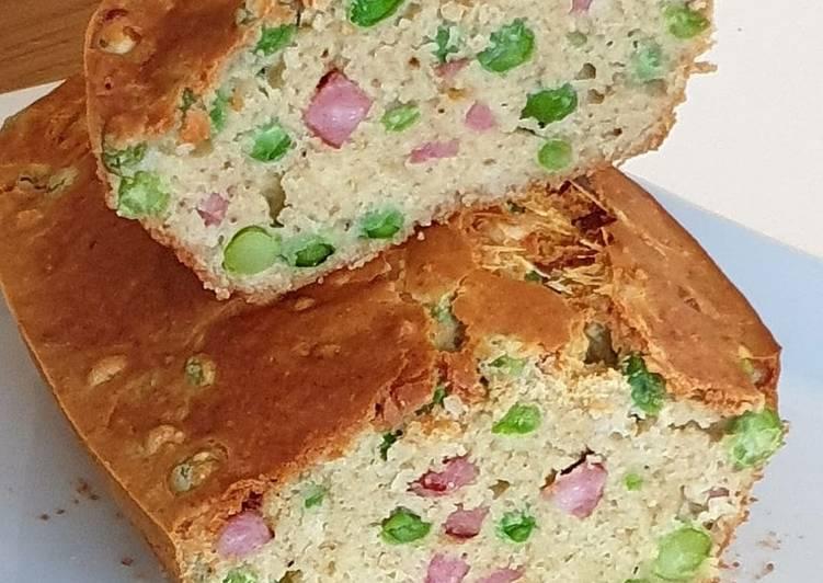 Cake ss gluten petit pois/ jambon/ emmental