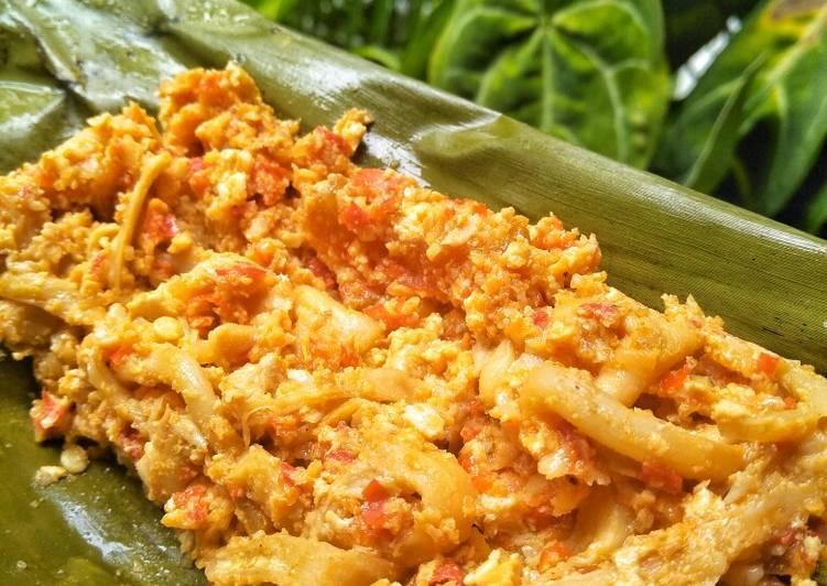 Pepes Telur Jamur Bumbu Merah (resep diet)