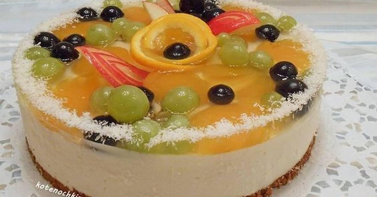она будет, желейный торт с бисквитом и фруктами фото придания эластичности полоску