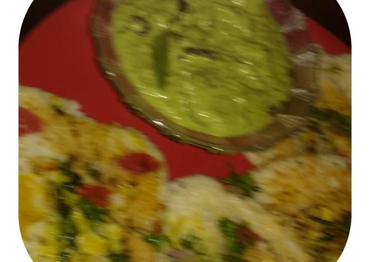 Coconut green chutney with uttapam (mix veg)