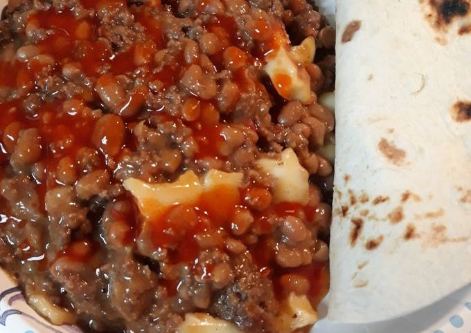 Beans, Burger, Served with Tortillas
