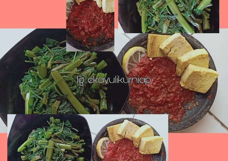 Diet sehat: Plecing Kangkung + Tahu RebusPanggang (Mahasiswa)