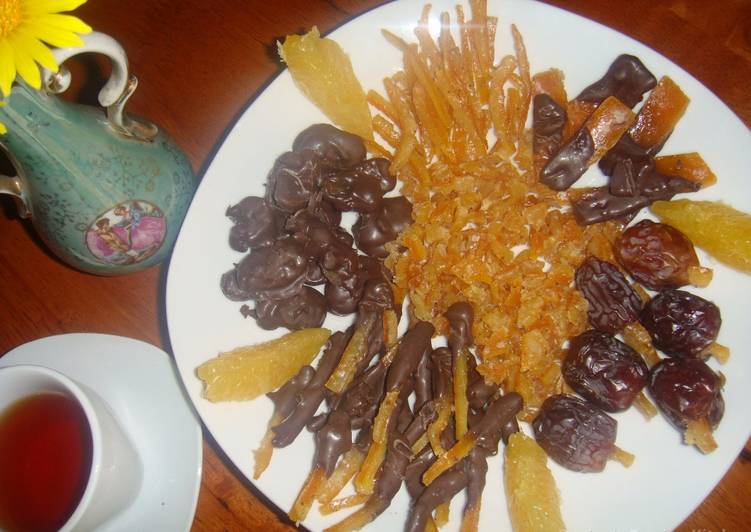 Simple Way to Prepare Favorite Orange peels- dates and raisins chocolate candy