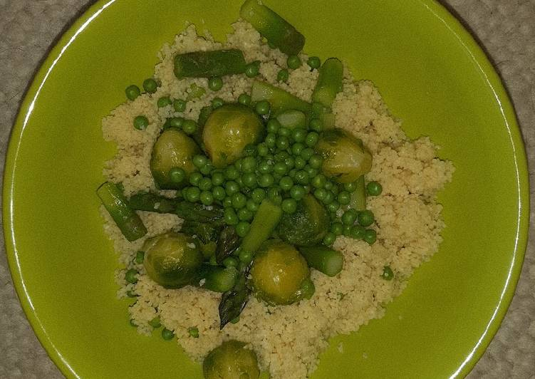 Couscous with gorgeous green veggies (Vegan)