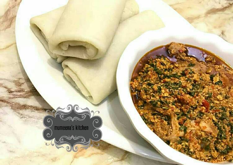 Simple Way to Prepare Any-night-of-the-week Rolled pounded yam wt egusi soup