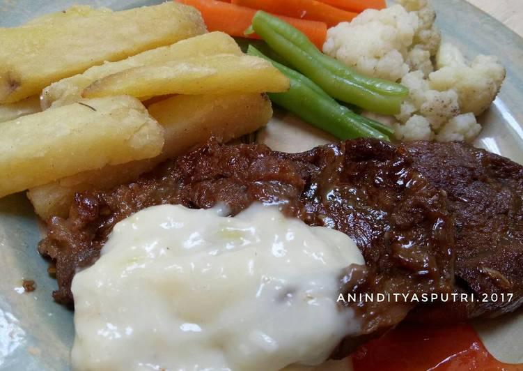 Steak Sapi dg Saus Krim Keju #KitaBerbagi