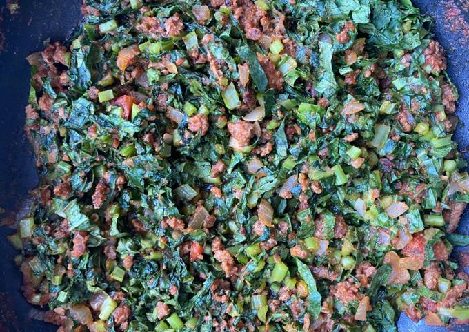 My minced beef and kale relish