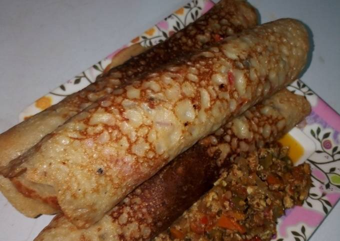 Chicken Pancake with Corned Beef Sauce