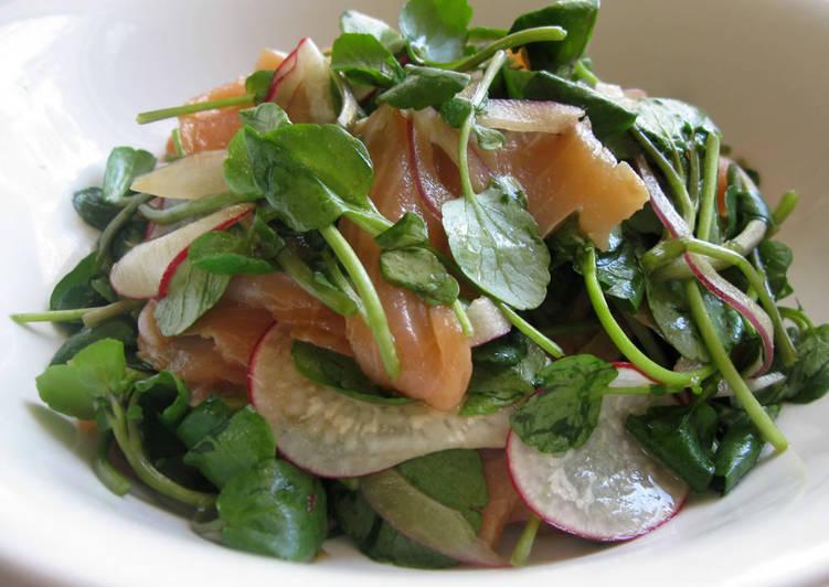 Watercress Salmon Salad with Wasabi Dressing