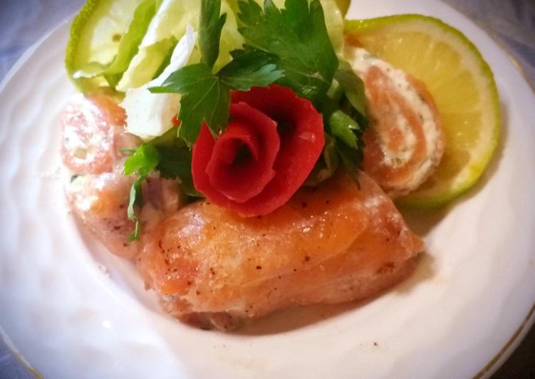 Rouleau de saumon au fromage blanc et herbes aromatiques😜😜👍👍