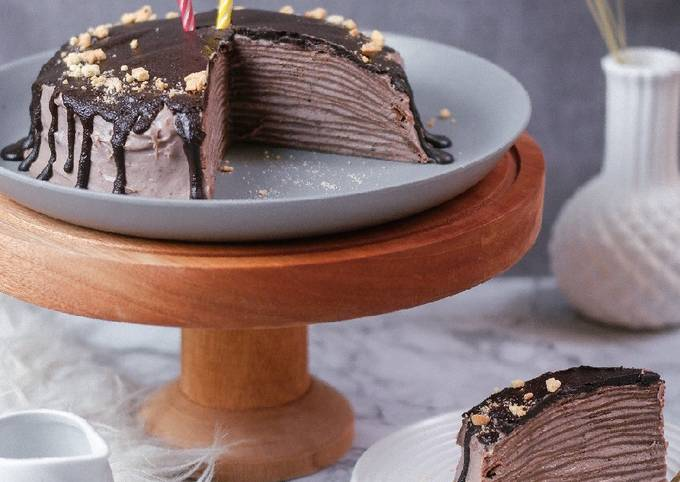 Chocolate Mille Crepes Tanpa Mixer Tanpa Oven!
