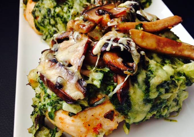Chicken Breasts with Creamed Spinach and Buttered Mushrooms