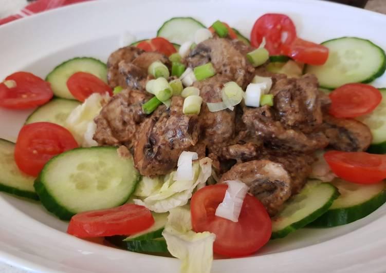 Recipe: Yummy Balsamic Mustard Mushrooms in a creamy sauce & Salad