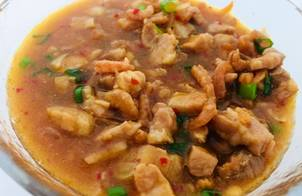 Thịt 3 rọi Nhật chưng mắm tôm Việt