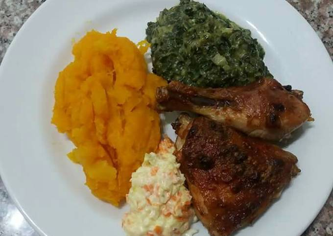 Grilled chicken and Hubbard squash