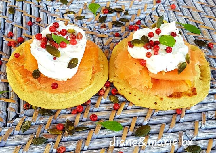 Recette Appétissante Mini pancakes au saumon fumé