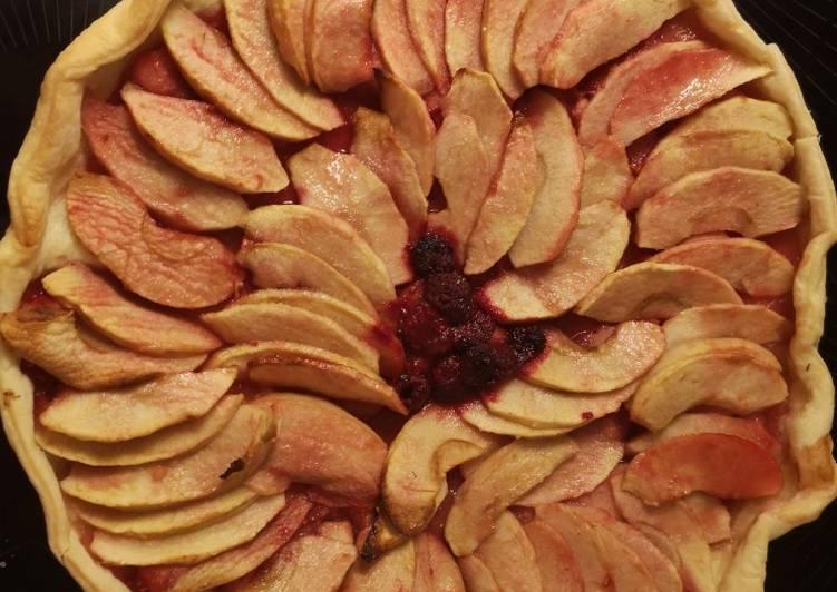 recette Tarte aux pommes et framboises délicieux
