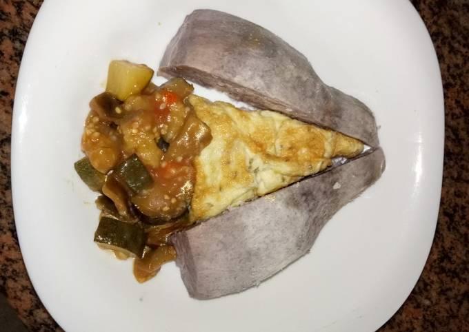 Breakfast arrowroot, eggplants curryfriedegg #favoriteEasterDis