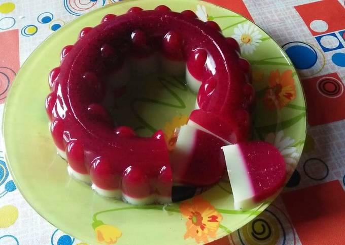 Puding buah naga melon