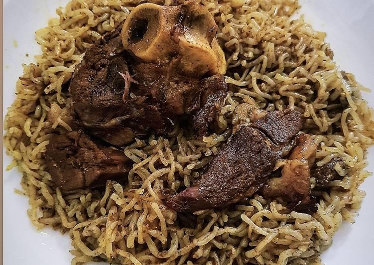Nasi Biryani Kambing Shirataki dengan bumbu instan