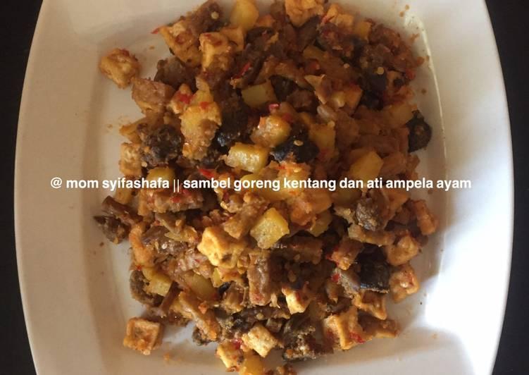 Sambal goreng kentang, ati ampela ayam, tahu dan tempe