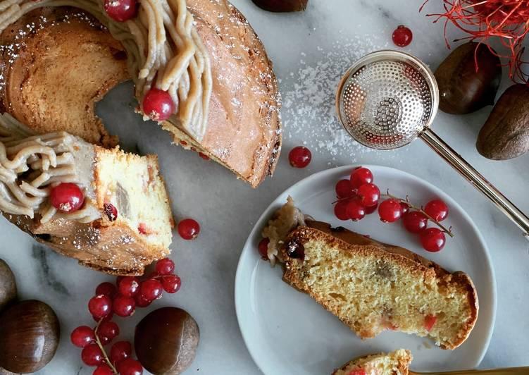 Cake au crémeux marron et groseilles  Recette du chef Christophe Michalak  @4PassionFood