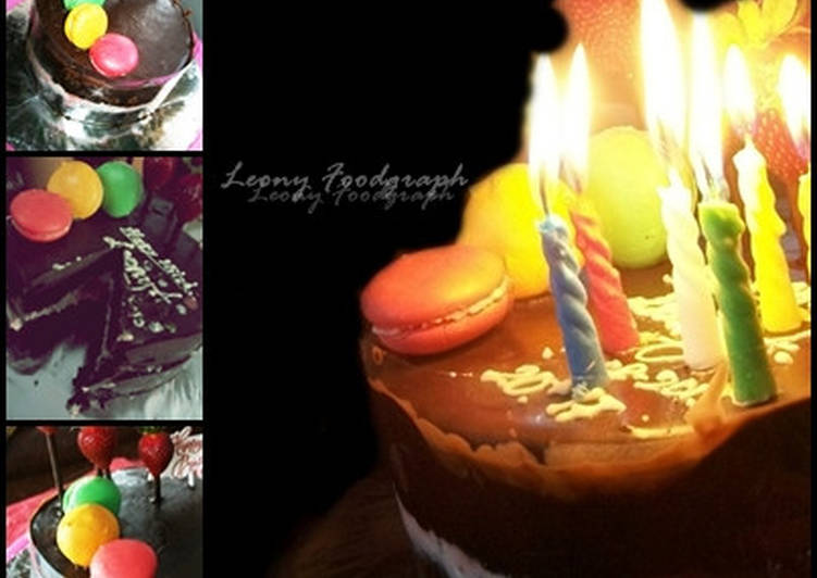 Resep RICH BIRTHDAY CHOCO CAKE STRAWBERRY ICE CREAM Anti Gagal