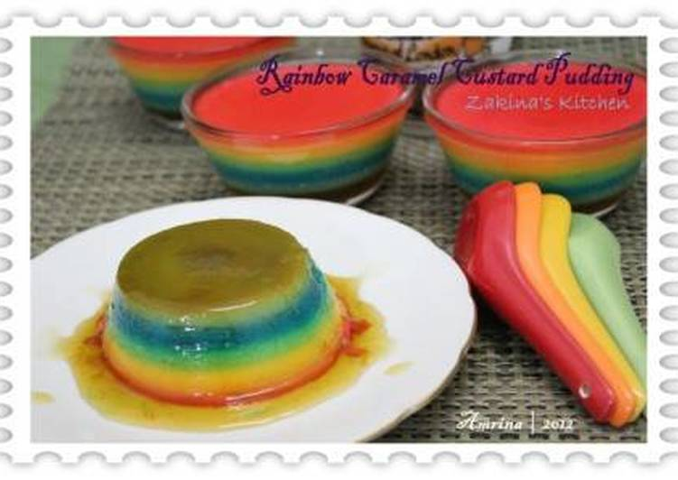 Rainbow Caramel Custard Pudding