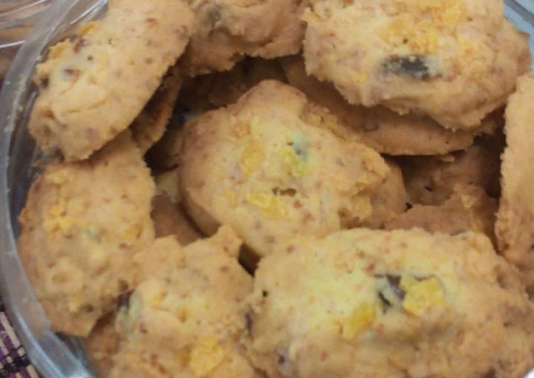 Resep Cookie Corn Flakes With Kurma And Cheese Oleh Bundadanu Cookpad
