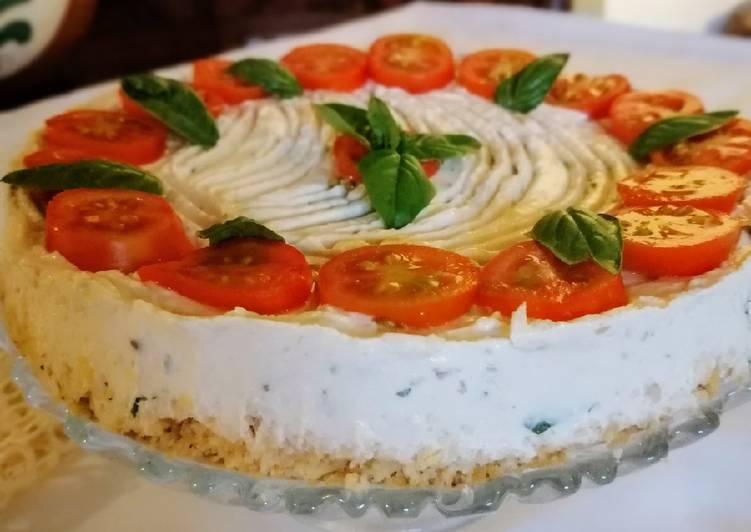Cheesecake salata tonno, formaggio e pomodorini