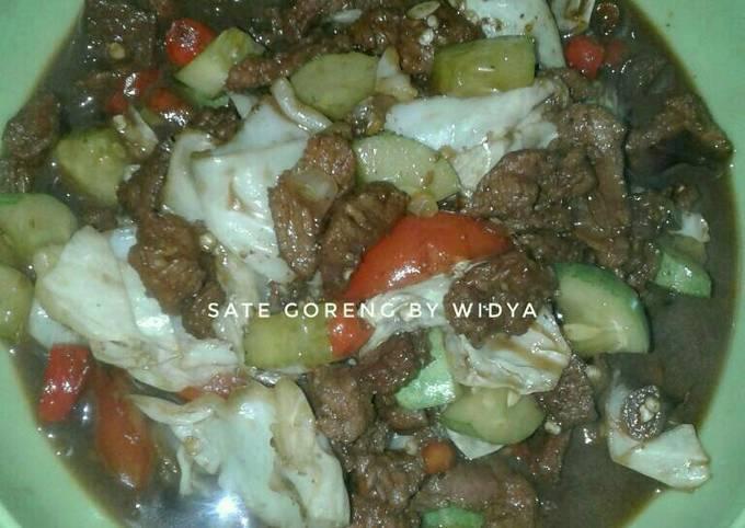 Bagaimana Menyiapkan Sate goreng daging sapi Anti Gagal
