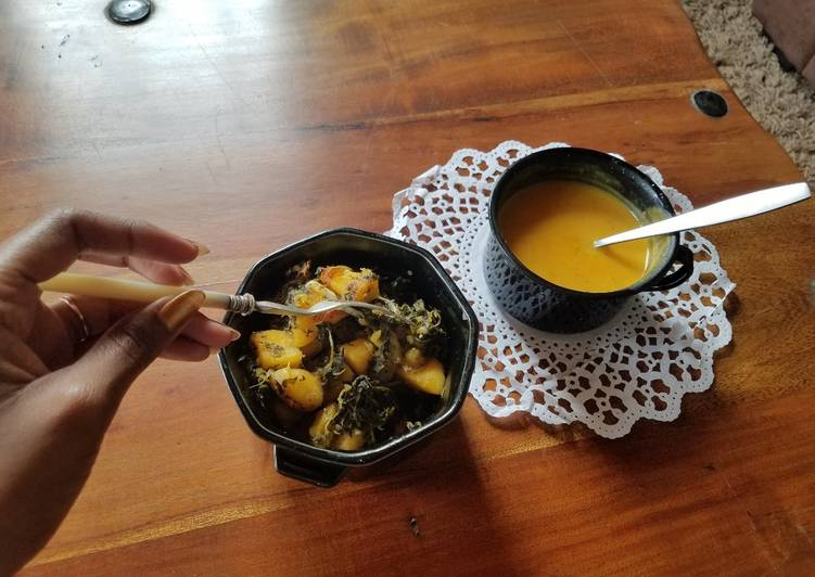 Butternut Soup served with Sauteed Sweet Potato