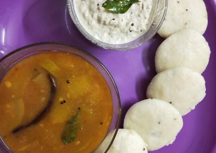 The Best Soft and Chewy Dinner Easy Award Winning Idli sambhar