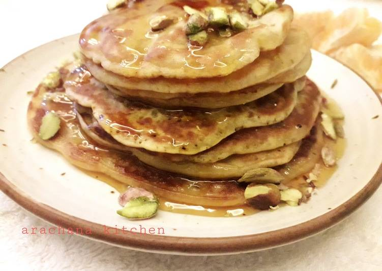 Step-by-Step Guide to Make Ultimate Orange wheat pistachio pancakes kids special recipe
