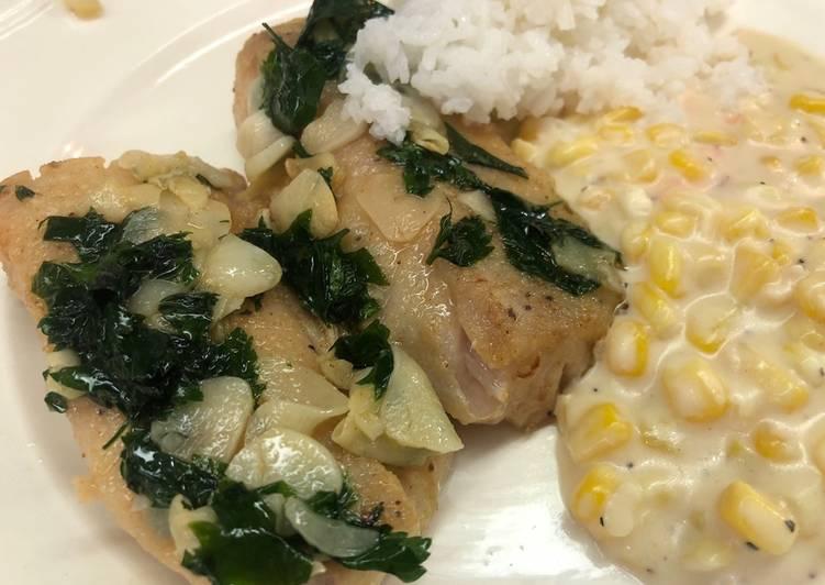 Filete de pescado al mojo de ajo con el toque Sonorense