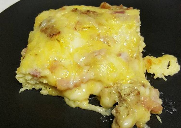 Easiest Way to Prepare Homemade Sausage, Ham, & Cheese Omelet Bake