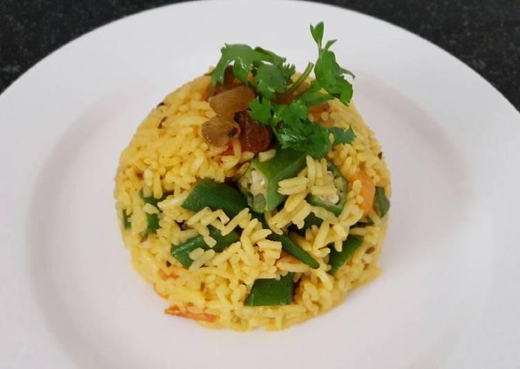 Steps to Prepare Most Popular Okra carrot pulao/turmeric pilaf