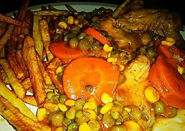 Tex's Ez Wings Stew with Skinny Fries 🍟🍗🍲, Choosing Fast Food That's Good For You
