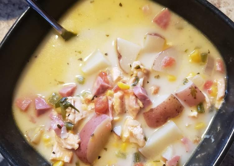 Chicken and ham corn chowder