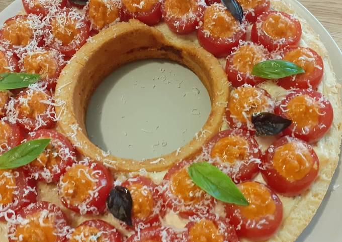 Tarte aux tomates, pesto rosso et ricotta