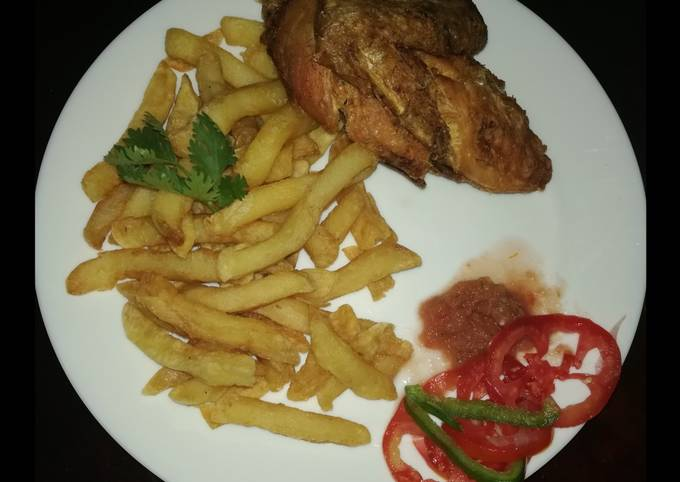 French fries with deep fried hot & tangy chicken
