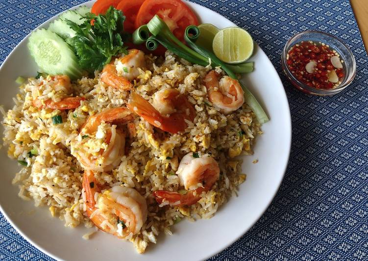 Thai Fried Rice Recipe with Prawn •Khao Pad Goong |ThaiChef food
