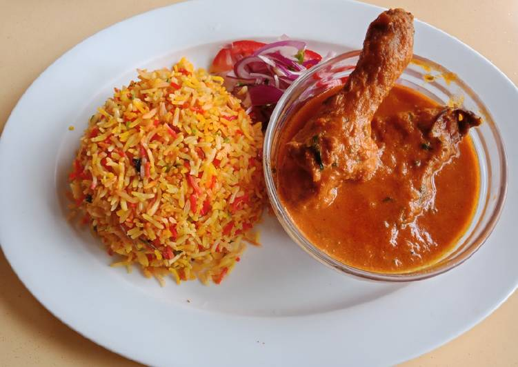 Indian Chicken Curry with Biryani Finding Healthy Fast Food
