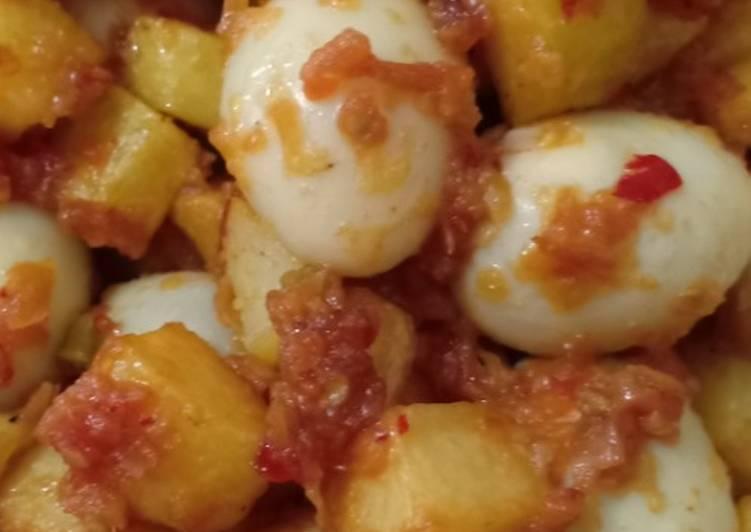 Balado kentang telur puyuh
