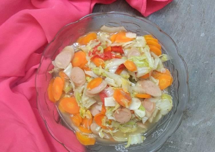 Tumis sawi putih,wortel, sosis bumbu simpel (tidak pedas)